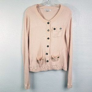 CAbi Pink Cashmere Blend Top Cardigan Sweater